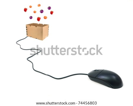A contempory photo of shopping on line for groceries - stock photo