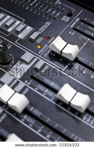 A control board for broadcasting. - stock photo
