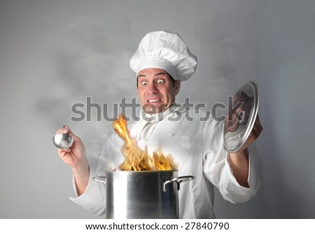 a cook making a mess - stock photo