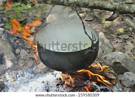 A cooking fish-soup in pot on bonfire. - stock photo