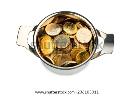 a cooking pot  filled with euro coins, symbolic photo for sovereign debt and financial requirements - stock photo