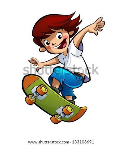 A cool boy skating and jumping high - stock photo
