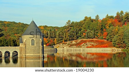 A cool crisp fall day at the Savill dam. - stock photo