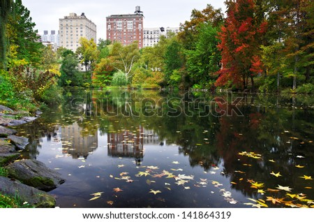 A cool Fall morning in Central Park - stock photo