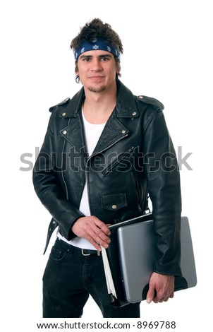 A cool looking student carrying a laptop