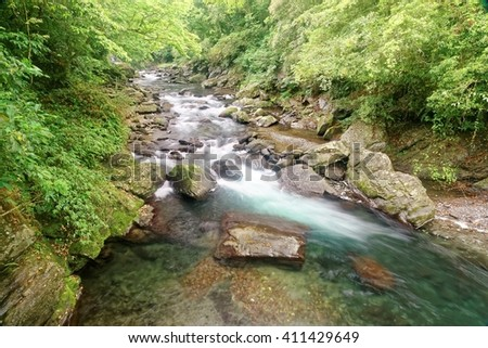 A cool refreshing cascading stream in a mysterious forest of lush greenery ~ Refreshing river in a mysterious forest of lavish greenery ~ Beautiful river scenery of Taiwan in springtime - stock photo