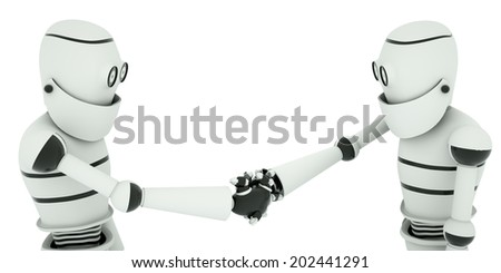 A cooperation agreement robots, sealed with a handshake, 3d render - stock photo