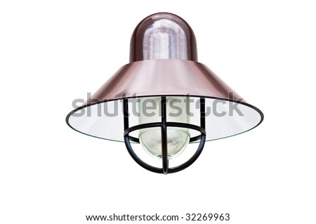 A copper exterior light fixture isolated on white - stock photo