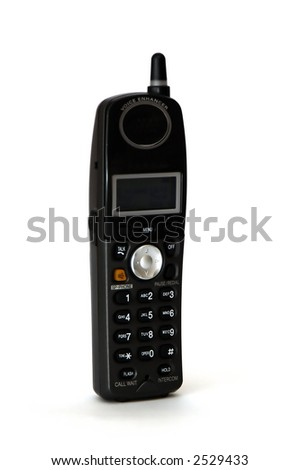 A cordless phone isolated against a ahite background