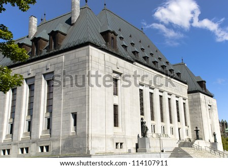 A corner view of the Supreme Court of Canada on Wellington Street in the capital city Ottawa, Canada. - stock photo