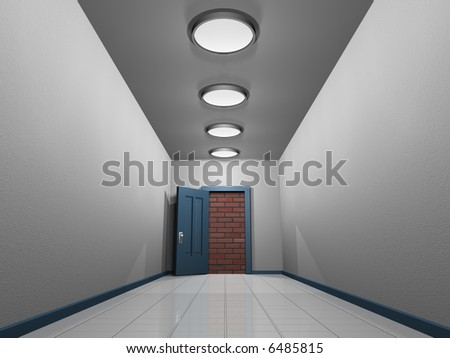A corridor and conceptual opened blocked door to the sky - 3d render - stock photo