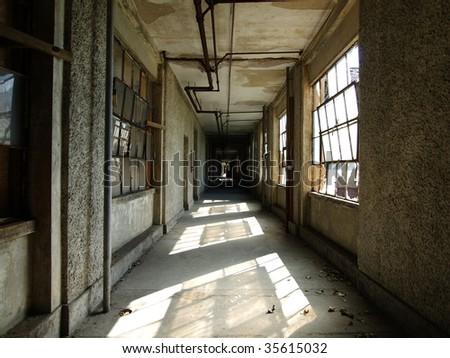A corridor waiting for renovation at historic Ellis Island National Park. - stock photo