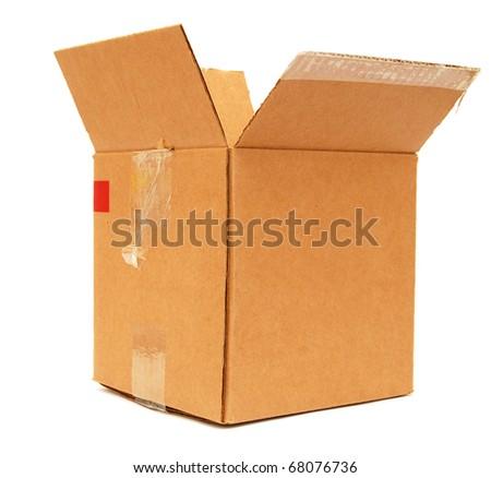 A corrugated brown box - stock photo