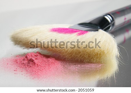 A cosmetic fan brush with pink, sparkly powder. - stock photo