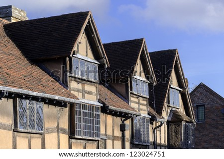 a cottage in an english village - shakespeares birthplace stratford-upon-avon - stock photo