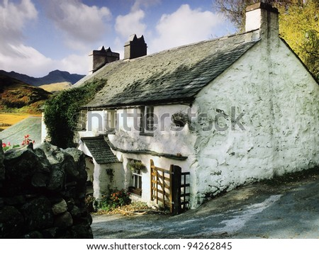 a cottage in the english lake district - stock photo