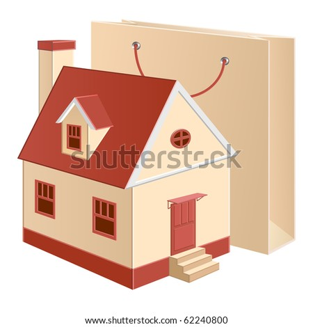 A cottage model with a shopping bag near - stock photo