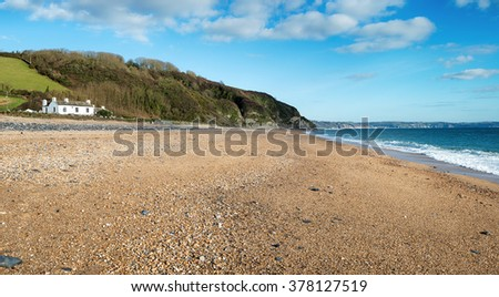 A cottage on the beach at Beesands on the south coast of Devon - stock photo