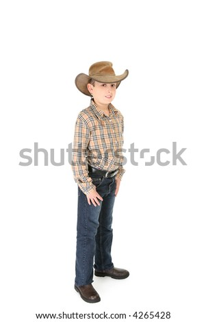 A country boy wearing a shirt jeans and leather cowboy hat.