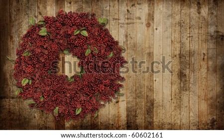 A country Christmas wreath. - stock photo