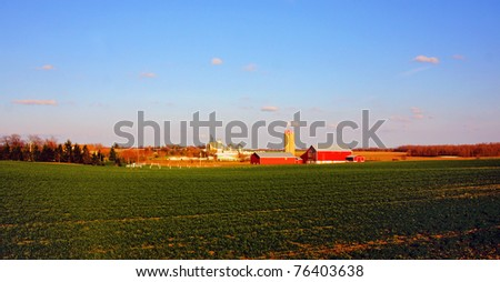 a country farm in the springtime - stock photo
