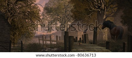 A country farm scene with blue jay watching a crab on a old pier along with horse. - stock photo
