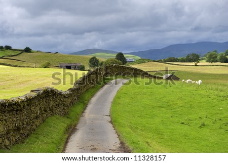A country lane near Staveley in the English lake District - stock photo