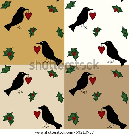 A country raven and holly stitched to a seamless wallpaper.  Preview shows four tiles together in different colors. - stock photo