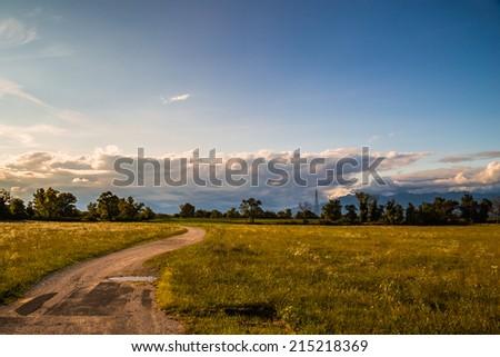 a country road through the fields of Friuli Venezia-Giulia, Italy - stock photo