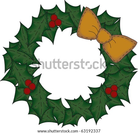 a country style patchwork wreath - stock photo
