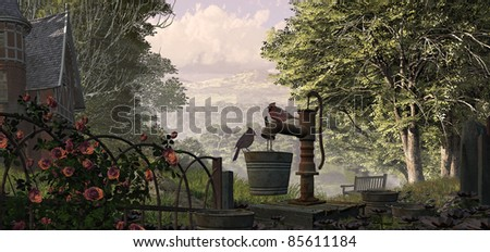 A countryside scene with Victorian mansion, climbing rose covered fence, and cardinals on  water pump.