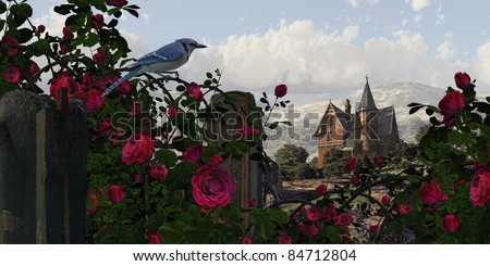 A countryside Victorian mansion with climbing rose covered fence, and blue jay. - stock photo