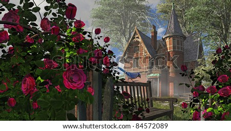 A countryside Victorian mansion with climbing rose covered fence, old bench and blue jay.