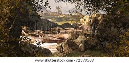 A County Kerry Ireland landscape with stream and medieval castle in the far distances. - stock photo