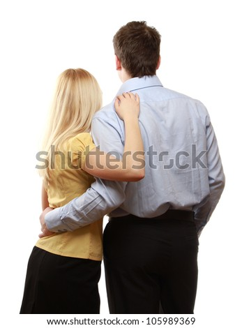 A couple, a back view - stock photo