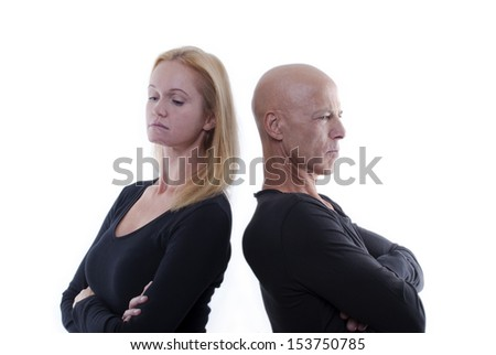 A Couple Arguing in Silence, Isolated - stock photo