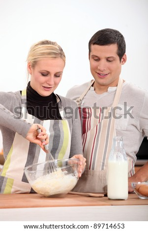 A couple baking - stock photo