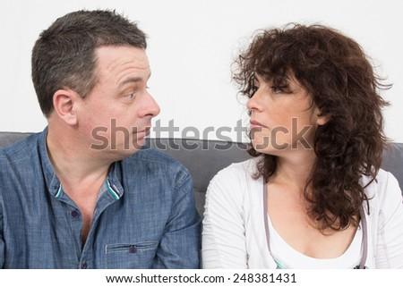 A couple confused scary emotion - stock photo