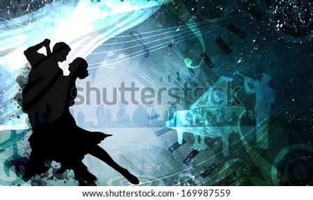 A couple dancing in front of a musical collage. - stock photo