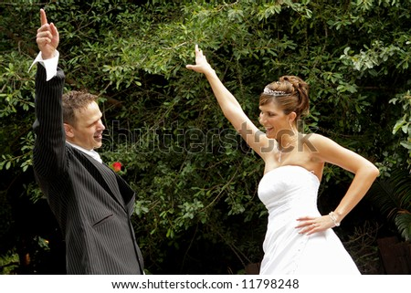 A couple dancing on their wedding day - stock photo