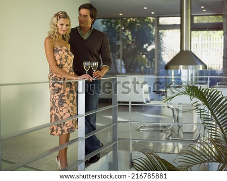 A couple drinking wine. - stock photo