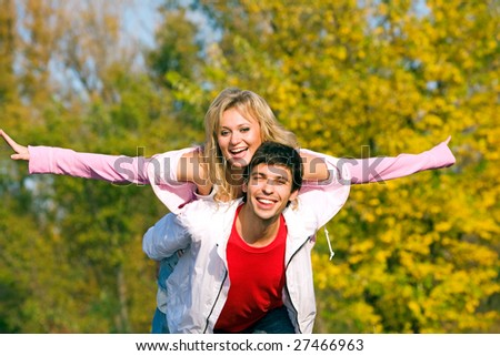 A couple flying with love - stock photo