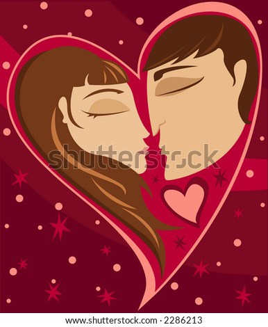 A couple in love - faces in a heart shape - stock photo