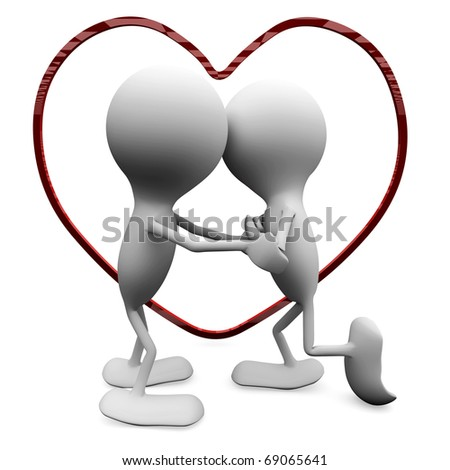 A couple in love kissing. 3D love concepts. - stock photo