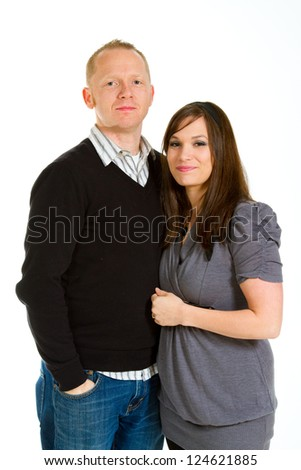 A couple in the studio on an isolated white background for a portrait.