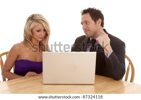 a couple looking at a laptop with confused expressions on their faces.