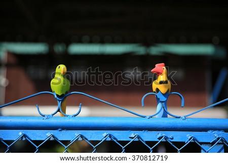 A couple of bird on the door - stock photo