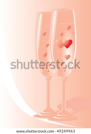 A couple of champagne flutes with hearts inside the. Conceptual romantic Valentines Day still life illustration - stock photo