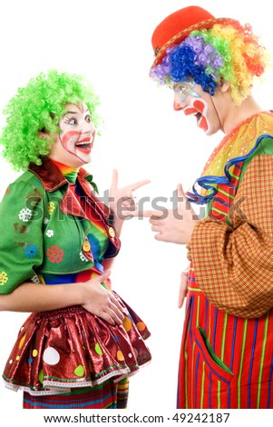 A couple of cheerful clowns. Isolated on white - stock photo