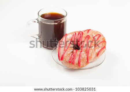 A couple of cherry donuts and a cup of coffee isolated on white. - stock photo